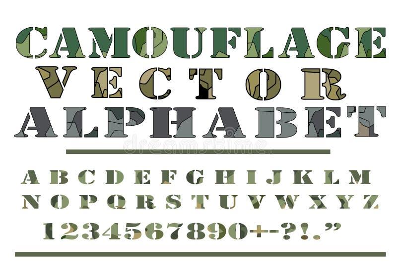 El vector del estilo del modelo de Camo del camuflaje pone letras a la fuente del alfabeto imagenes de archivo