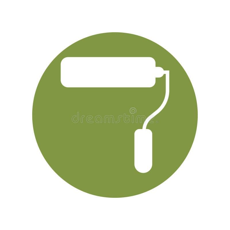 El vector del icono del cepillo del rodillo de pintura canta el cepillo del símbolo stock de ilustración