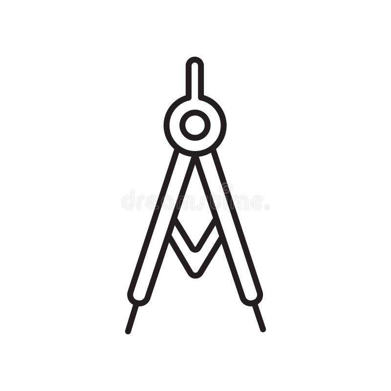El vector del icono del compás aislado en el fondo blanco, contornea la muestra, la muestra y símbolos en estilo linear fino del  ilustración del vector