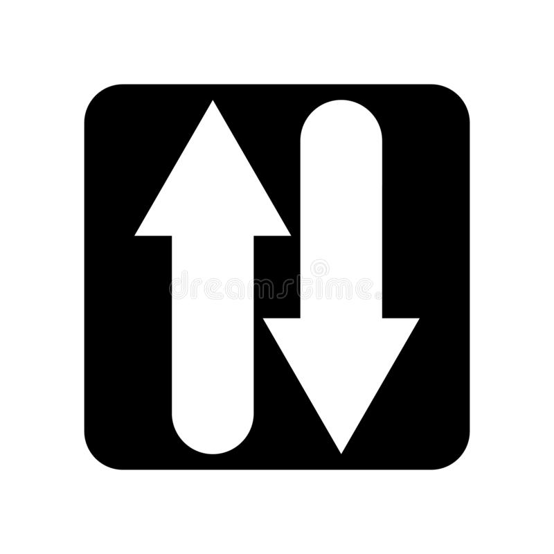 El vector del icono de dos maneras aislado en el fondo blanco, dos maneras firma stock de ilustración