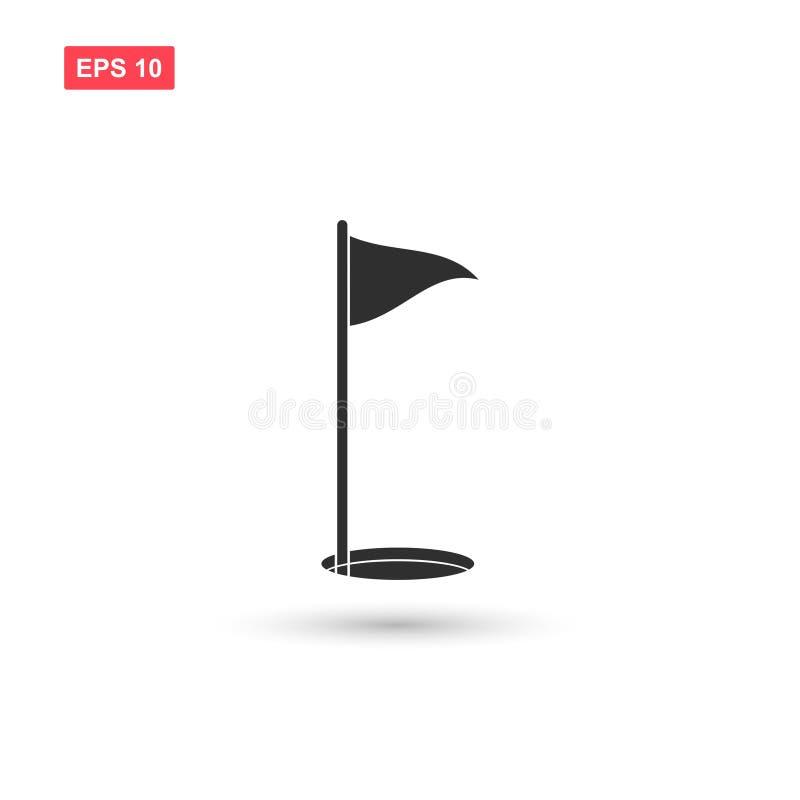 El vector del icono de la bandera del golf aisló 6 stock de ilustración