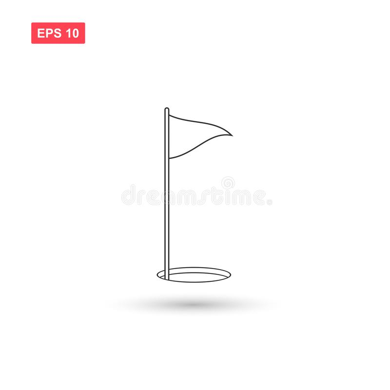 El vector del icono de la bandera del golf aisló 7 stock de ilustración
