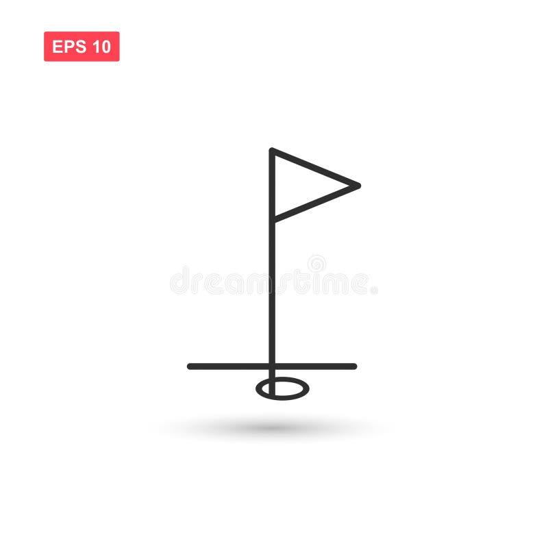 El vector del icono de la bandera del golf aisló stock de ilustración