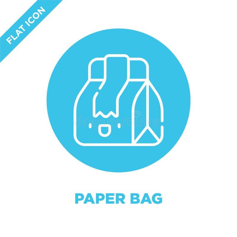 el vector del icono de la bolsa de papel de se lleva la colección Línea fina ejemplo del vector del icono del esquema de la bolsa libre illustration