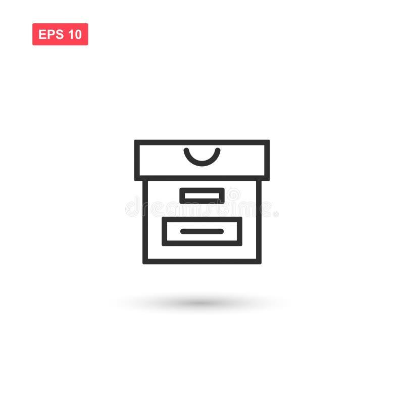 El vector del icono de la caja del archivo aisló stock de ilustración