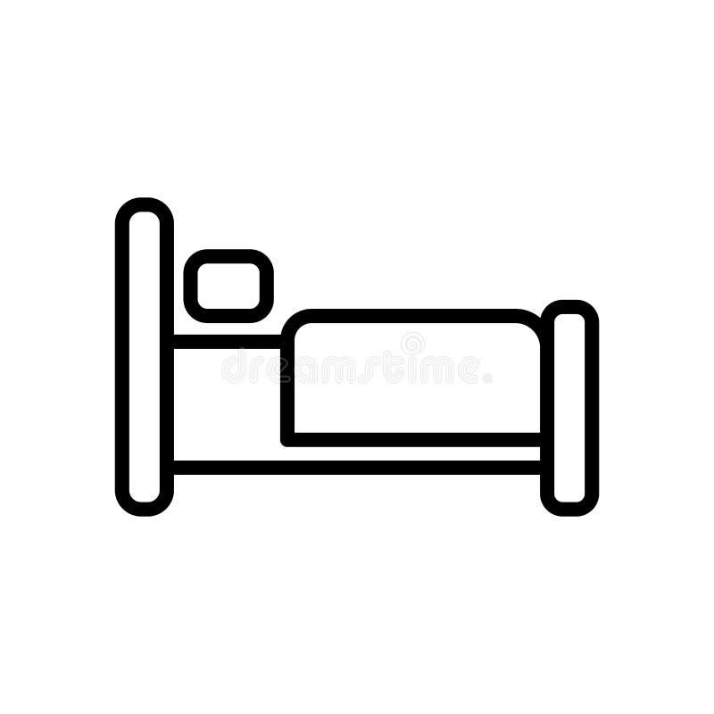 El vector del icono de la cama aislado en el fondo blanco, acuesta elementos de la muestra, de la línea y del esquema en estilo l libre illustration