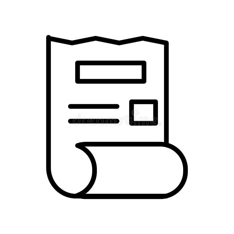 El vector del icono de la factura aislado en el fondo blanco, factura la muestra, la línea o la muestra linear, diseño del elemen ilustración del vector