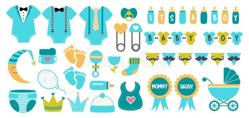 El vector del icono de la fiesta de bienvenida al bebé fijó colores azules en colores pastel libre illustration