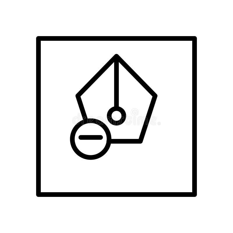 El vector del icono de la pluma aislado en el fondo blanco, encierra elementos de la muestra, de la línea y del esquema en estilo stock de ilustración