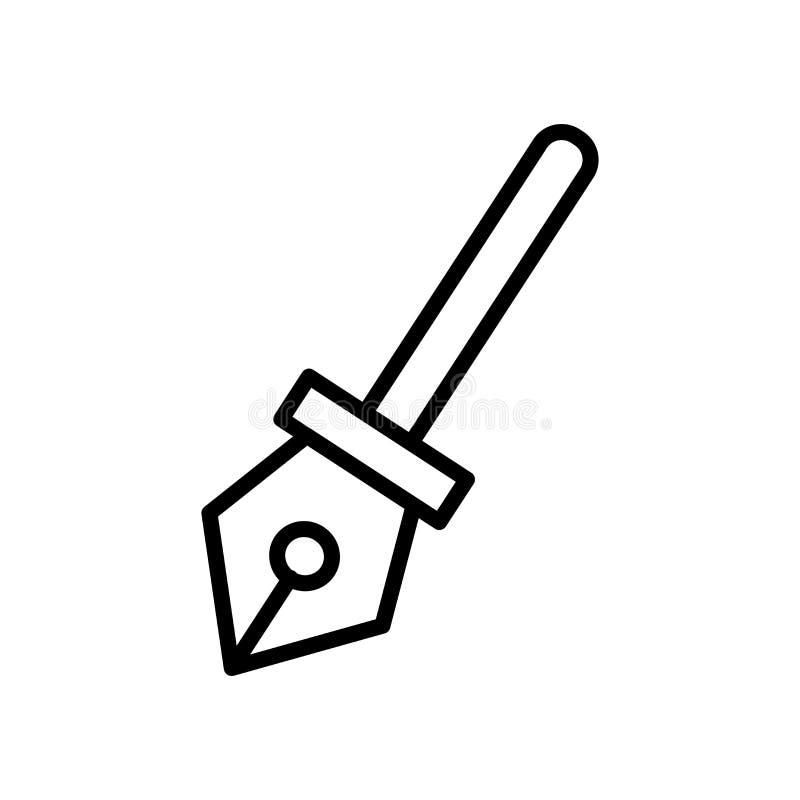 El vector del icono de la pluma aislado en el fondo blanco, encierra elementos de la muestra, de la línea y del esquema en estilo ilustración del vector