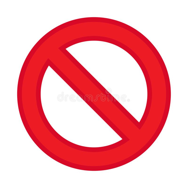 El vector del icono de la prohibición, no permitió la muestra, muestra roja de la prohibición stock de ilustración