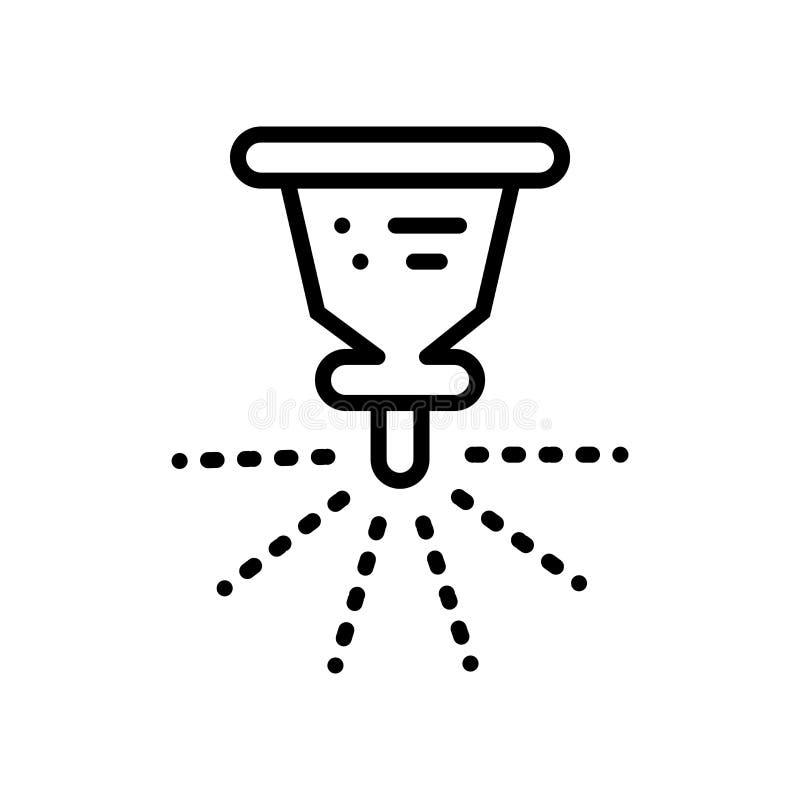 El vector del icono de la regadera aislado en el fondo blanco, equipa la muestra, la línea o la muestra linear, diseño del elemen ilustración del vector