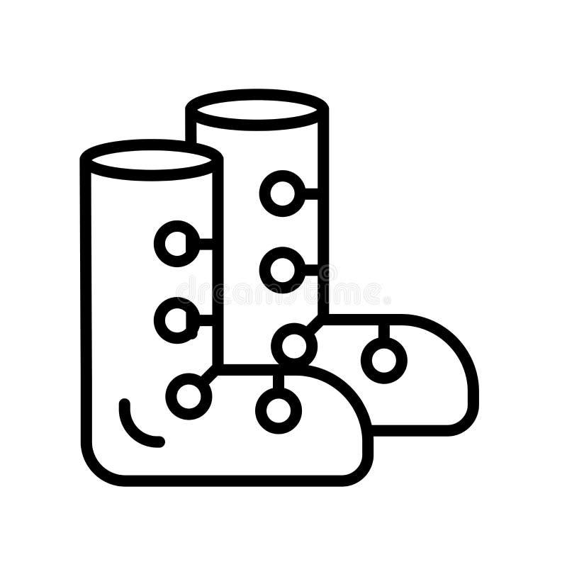 El vector del icono de las botas de esquiar aislado en el fondo blanco, botas de esquiar firma, símbolo y los elementos lineares  ilustración del vector