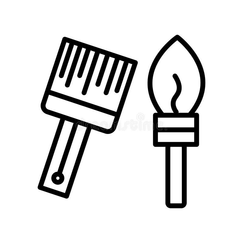 El vector del icono de las brochas aislado en el fondo blanco, brochas firma, alinea y resume elementos en estilo linear ilustración del vector