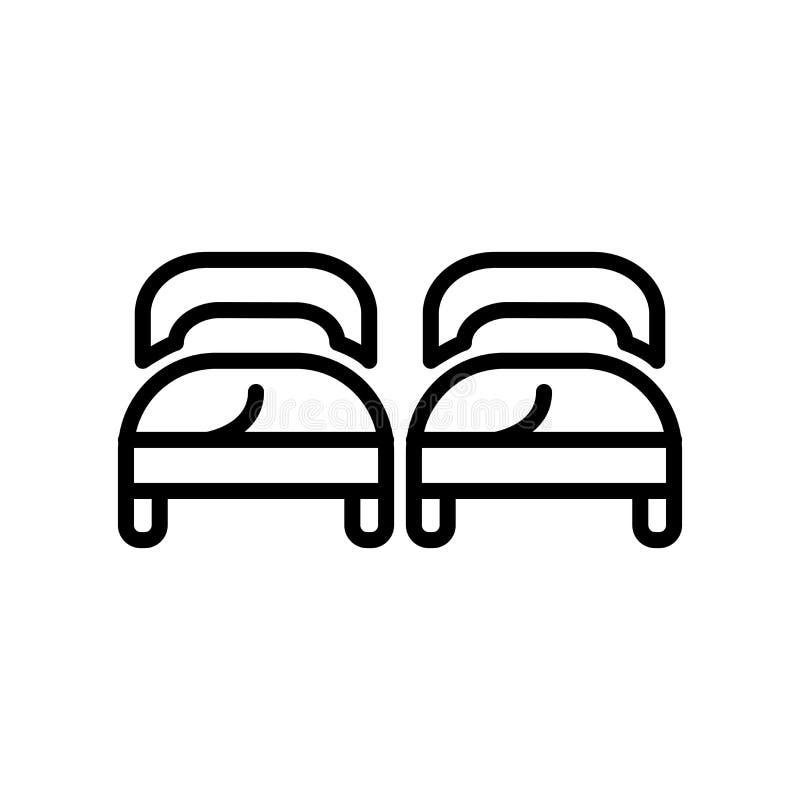 El vector del icono de las camas aislado en el fondo blanco, camas firma, alinea y resume elementos en estilo linear ilustración del vector