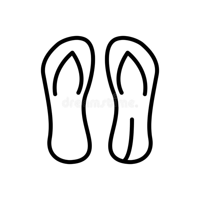 El vector del icono de las chancletas aislado en el fondo blanco, chancletas firma, alinea y resume elementos en estilo linear ilustración del vector