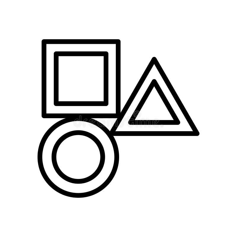 El vector del icono de las formas aislado en el fondo blanco, forma elementos de la muestra, de la línea y del esquema en estilo  ilustración del vector