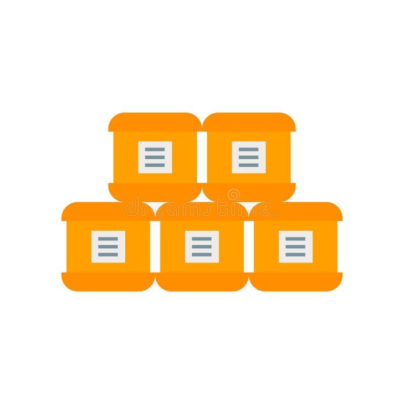 El vector del icono de los paquetes aislado en el fondo blanco, empaqueta la muestra, símbolos de la industria stock de ilustración