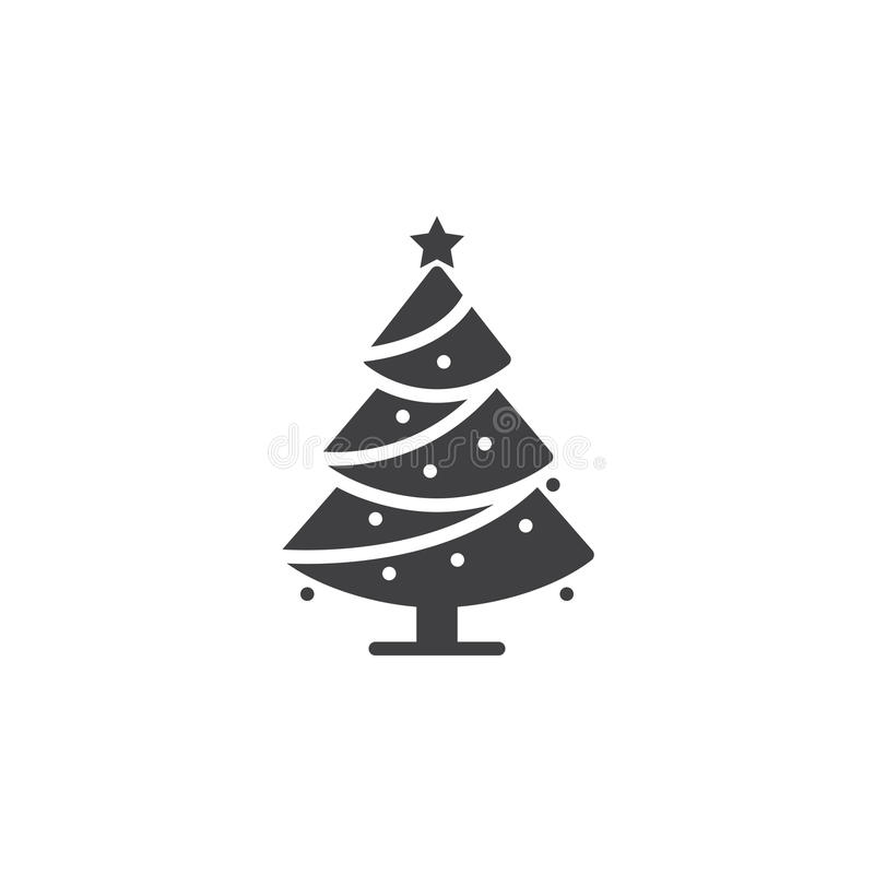 El vector del icono del árbol de navidad, conífera adornada llenó la muestra plana, ilustración del vector