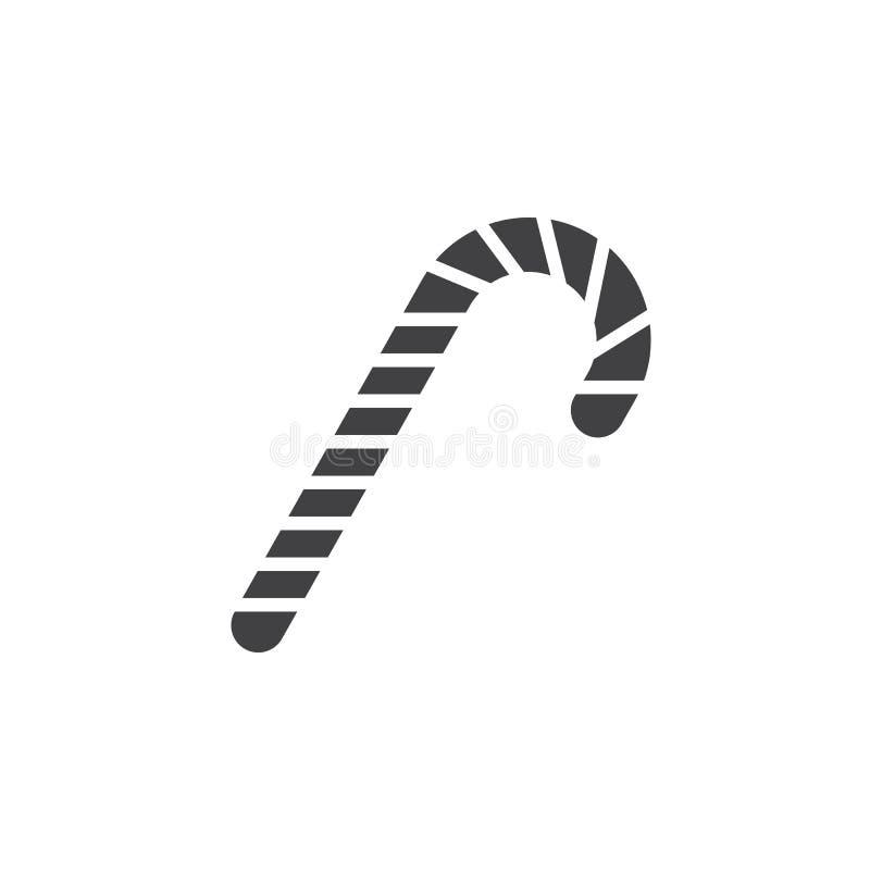 El vector del icono del bastón de caramelo, palillo de la hierbabuena llenó la muestra plana, sólida ilustración del vector