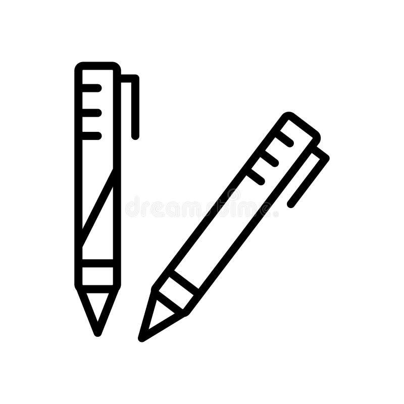 El vector del icono del lápiz aislado en el fondo blanco, dibuja a lápiz elementos de la muestra, de la línea y del esquema en es libre illustration