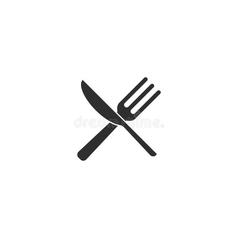 El vector del icono del restaurante de la cuchara o de la comida del cuchillo de la bifurcación aisló 3 stock de ilustración