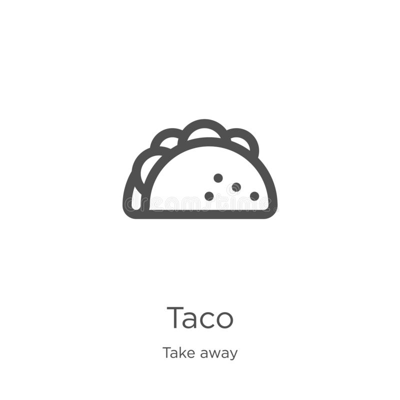 el vector del icono del taco de se lleva la colección Línea fina ejemplo del vector del icono del esquema del taco Esquema, línea ilustración del vector