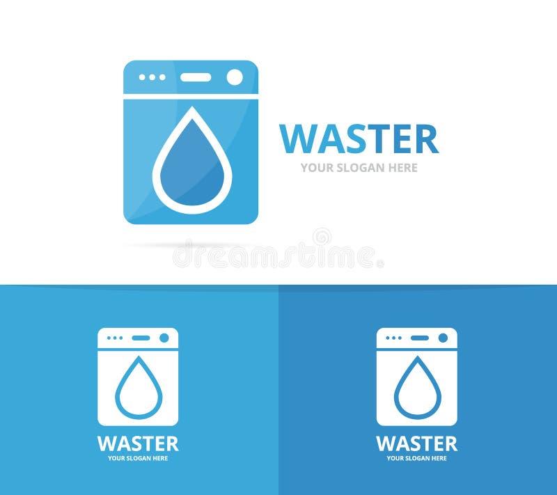 El vector del lavadero y el agua caen la combinación del logotipo Lavadora y símbolo o icono del aceite Lavadora y gotita únicas libre illustration