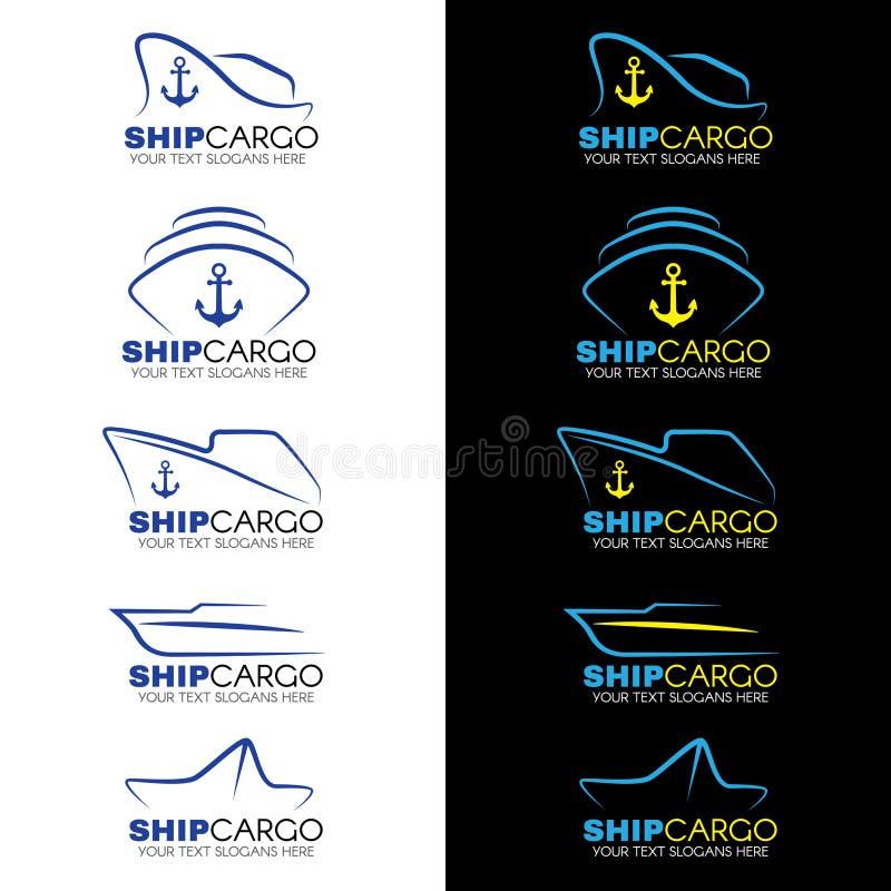 El vector del logotipo del cargo de la nave del azul y del amarillo diseña ilustración del vector