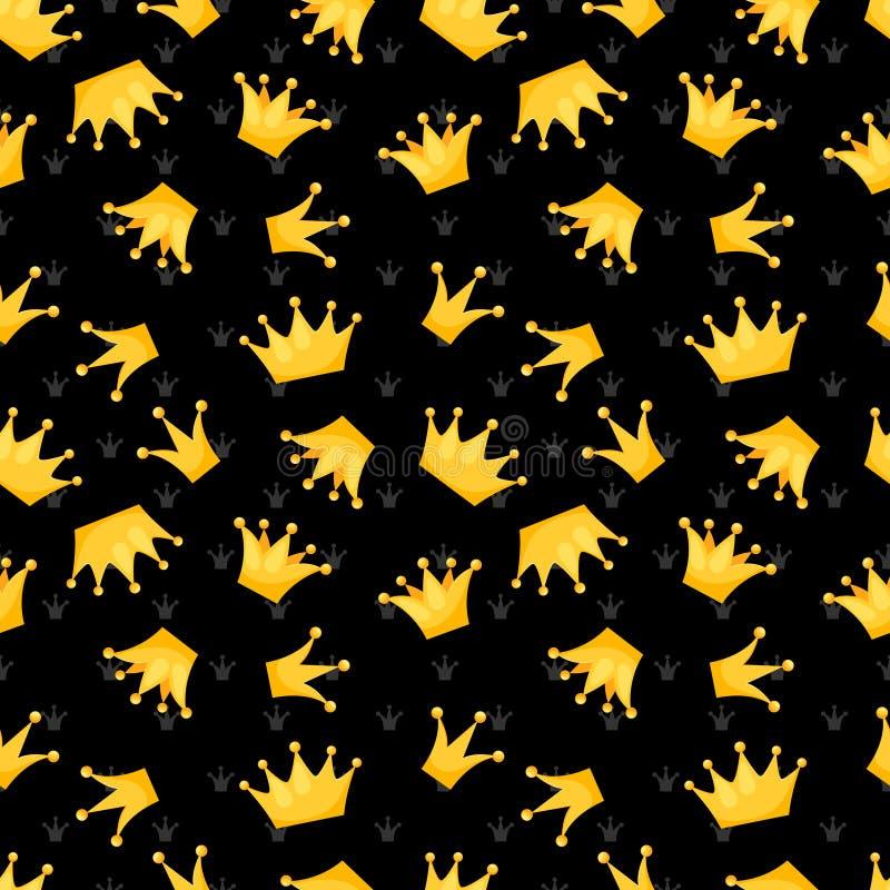 El vector del oro corona en diseño inconsútil negro del modelo ilustración del vector