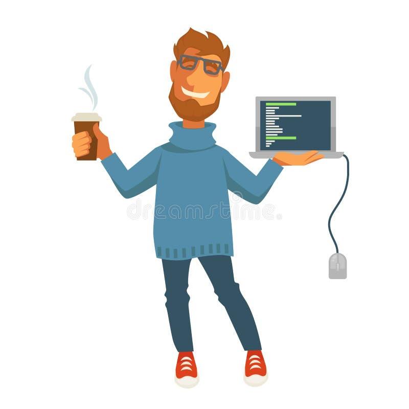 El vector del programador del web del especialista o del ordenador de Digitaces aisló el icono libre illustration