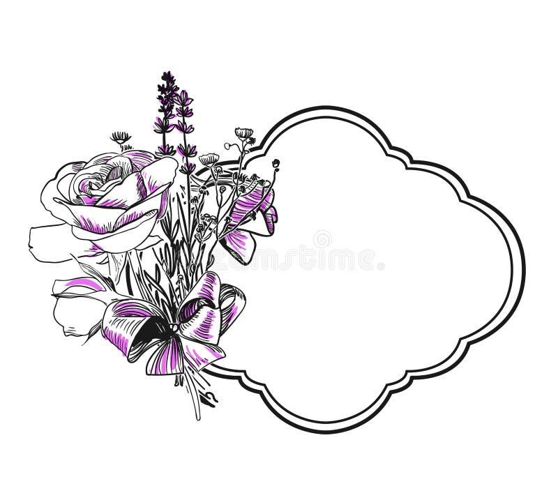 El vector del ramo de la lavanda de Rose graba el marco aislado libre illustration
