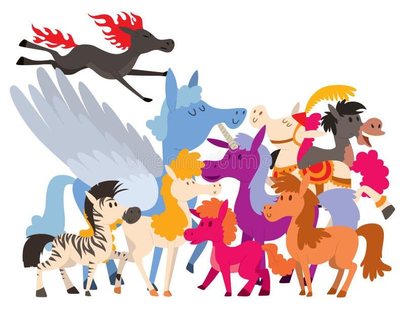 El vector del semental del potro del caballo cría el ejemplo ecuestre del carácter del parque zoológico de la melena del animal d stock de ilustración
