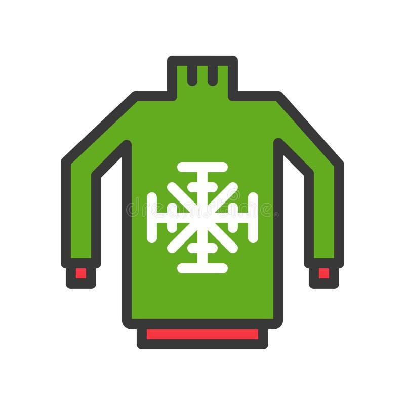 El vector del suéter, Chirstmas relacionó el icono editable llenado del esquema del icono del estilo libre illustration