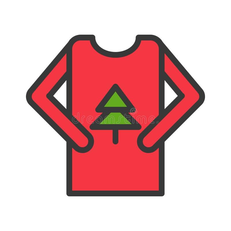 El vector del suéter, Chirstmas relacionó el icono editable llenado del esquema del icono del estilo stock de ilustración