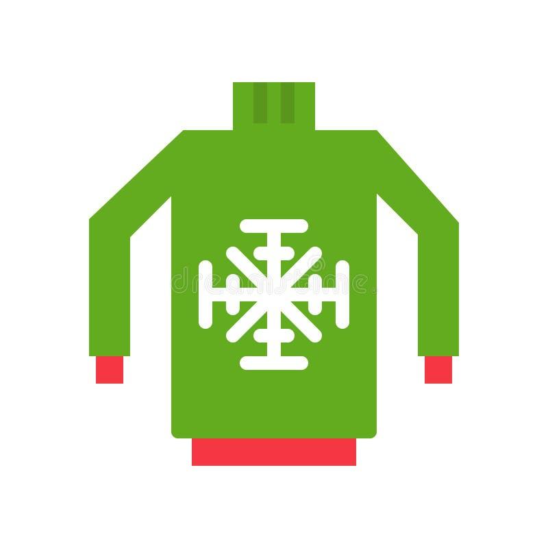 El vector del suéter, Chirstmas relacionó el icono plano del estilo ilustración del vector
