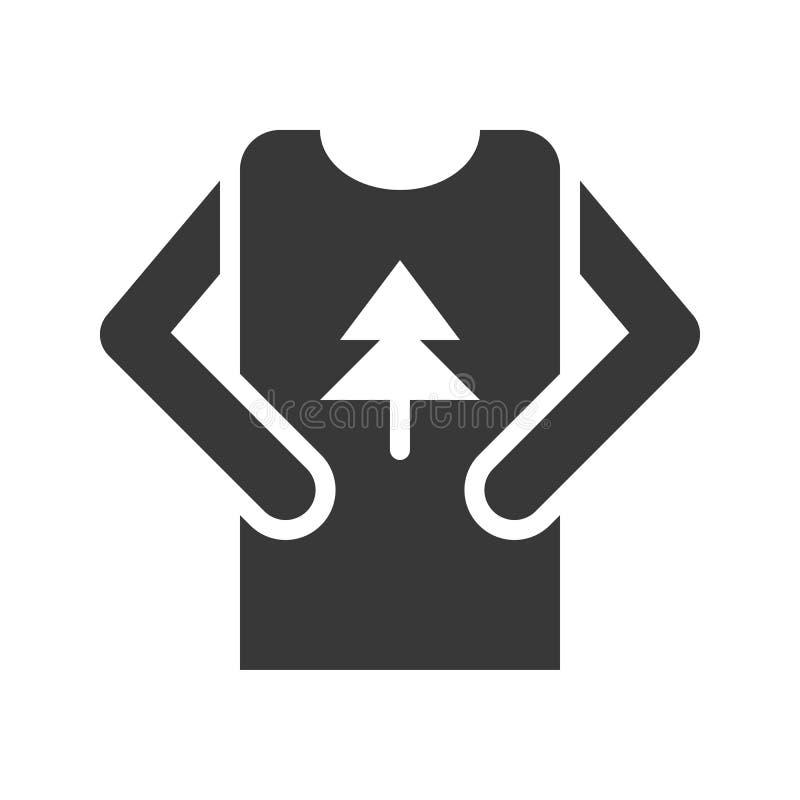 El vector del suéter, Chirstmas relacionó el icono sólido del estilo stock de ilustración
