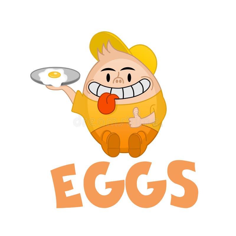El vector divertido Humpty Dumpty ofrece el huevo Logo Template del desayuno Huevos frescos El logotipo para la granja av?cola, r stock de ilustración