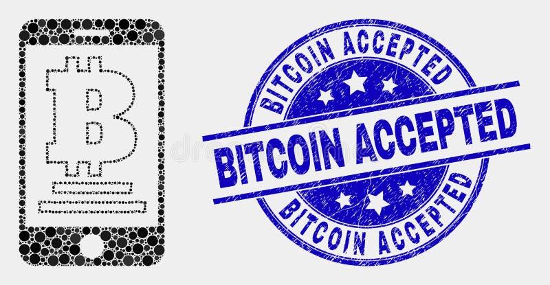 El vector Dot Mobile Bitcoin Bank Icon y Bitcoin rasguñado aceptó el sello del sello ilustración del vector