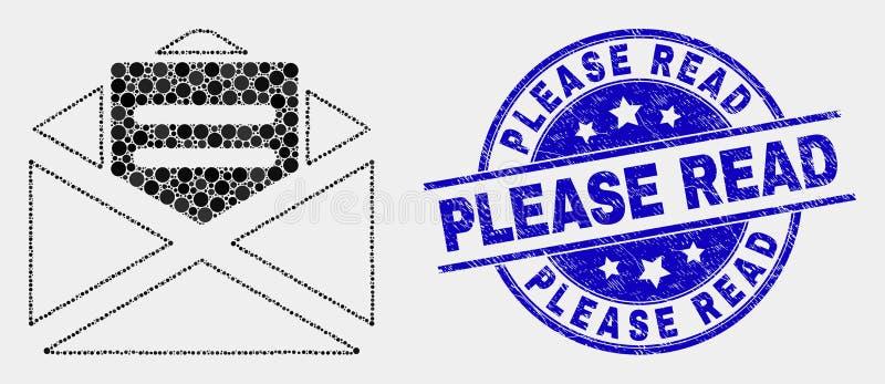 El vector Dot Open Mail Icon y la desolación leyeron por favor el sello stock de ilustración