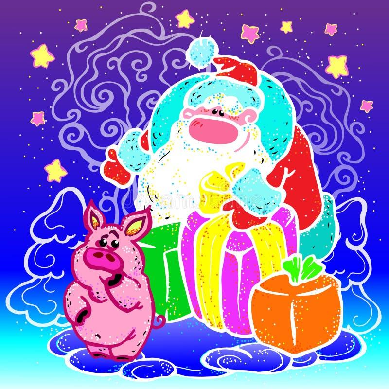 El vector, ejemplo, Santa Claus, Año Nuevo, da a cerdo muchos regalos, bosque, invierno, nieve, alegría, día de fiesta ilustración del vector