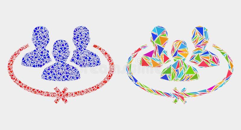 El vector encarceló el icono del mosaico de las personas de triángulos ilustración del vector