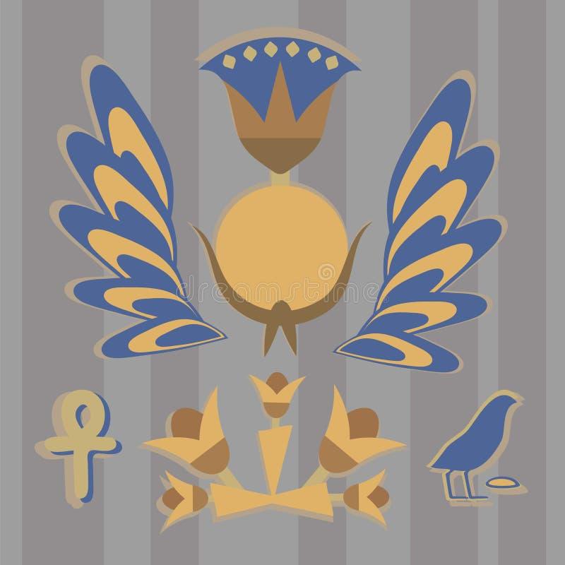 El vector es una composición egipcia antigua del sol, flores, plumas, pájaros en tonos amarillo-azules contra la perspectiva de G stock de ilustración