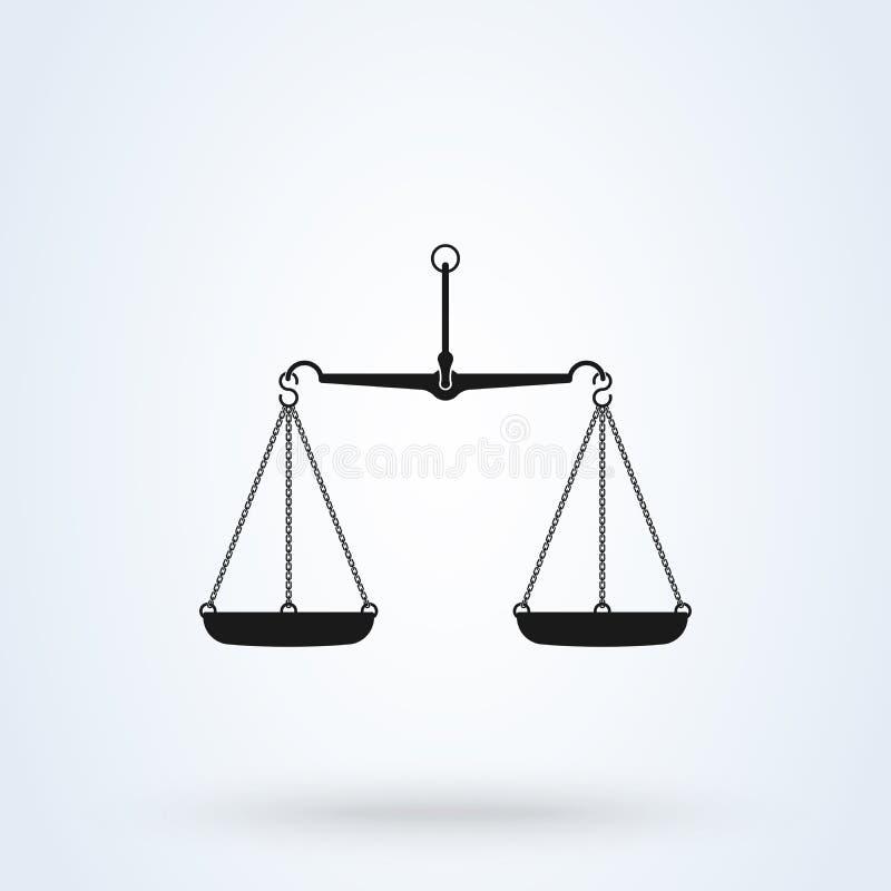 El vector escala el icono, aislado en el bacground blanco Escalas de la justicia stock de ilustración