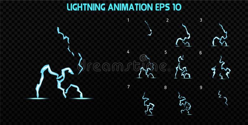 El vector estalla Estalle la animación del efecto con humo Marcos de la explosión de la historieta Hoja de Sprite de la explosión stock de ilustración