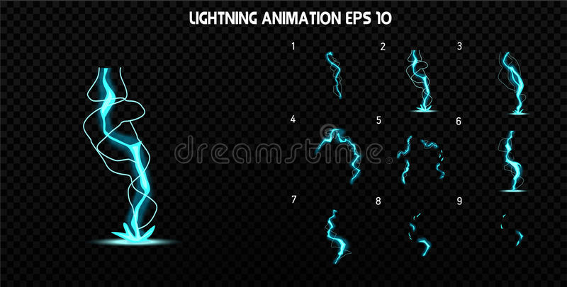 El vector estalla Estalle la animación del efecto con humo Marcos de la explosión de la historieta Hoja de Sprite de la explosión ilustración del vector