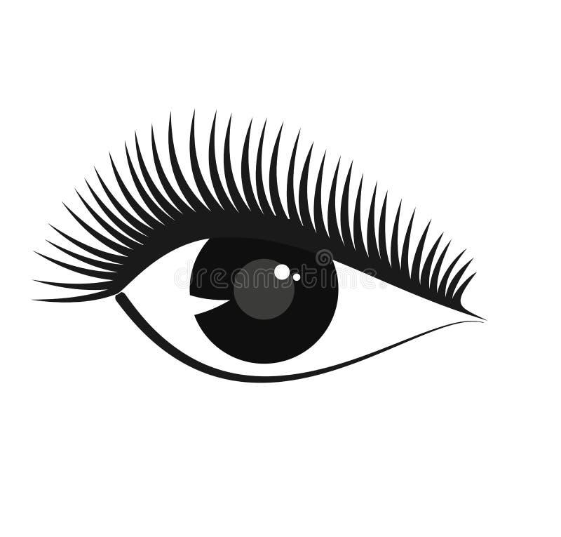 El vector estilizó símbolo del ojo de la mujer con las pestañas largas stock de ilustración