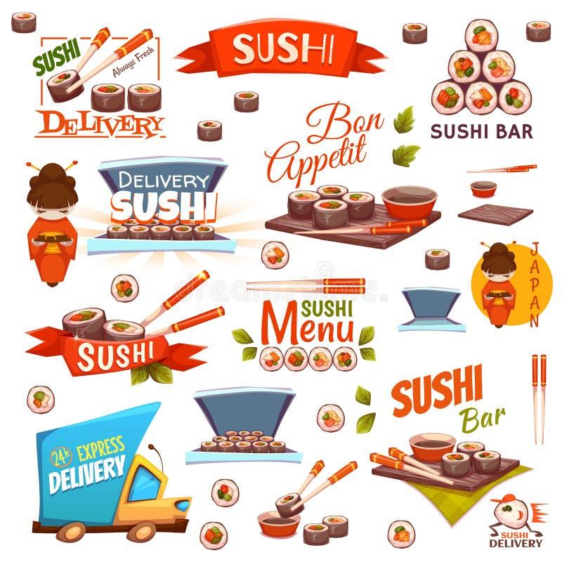 El vector fijó con las banderas del sushi, iconos, logotipo stock de ilustración