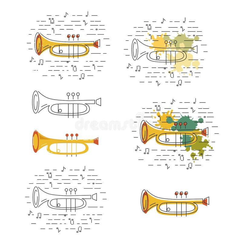 El vector fijó con los iconos del cucurucho o del cuerno ilustración del vector
