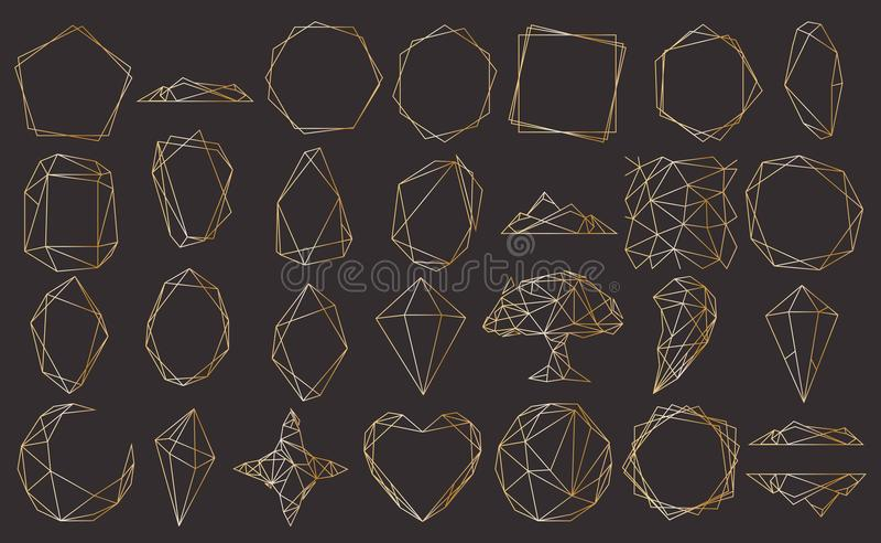 El vector fijó con el poliedro geométrico, estilo del art déco para casarse la invitación, plantillas de lujo, modelos decorativo ilustración del vector